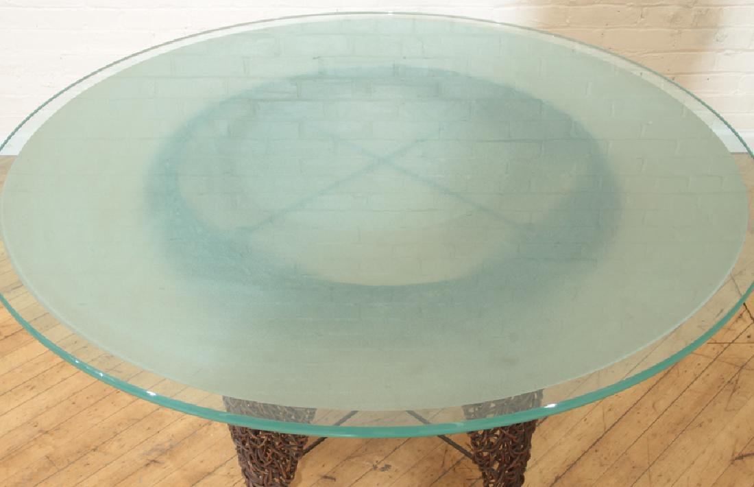 UNUSUAL ITALIAN GLASS TOP TABLE AND PAIR CHAIRS - 3