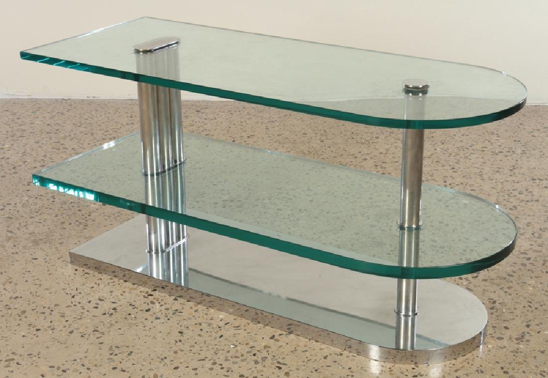 ITALIAN 3 TIER CHROME AND GLASS END TABLE C.1960
