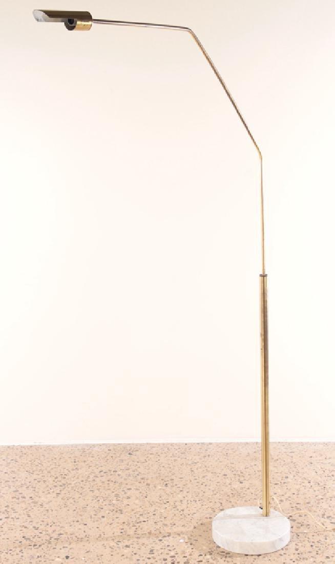 ITALIAN BRASS FLOOR LAMP ON MARBLE BASE C.1960