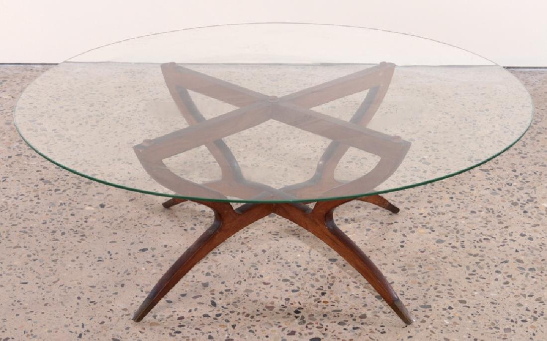 ITALIAN WALNUT ROSEWOOD COFFEE TABLE GLASS TOP