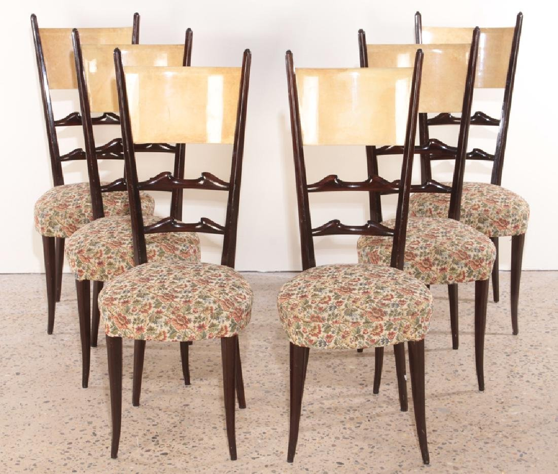 RARE SET 6 ALDO TURA MAHOGANY DINING CHAIRS C1960