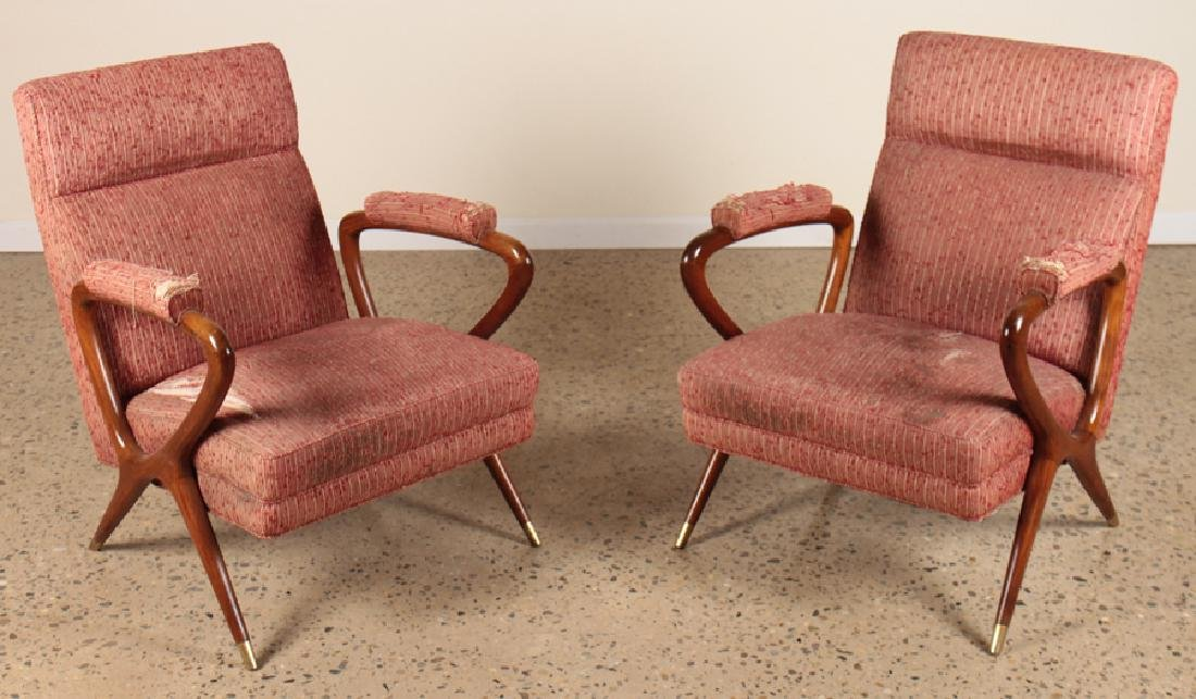 PAIR ITALIAN UPHOLSTERED MAHOGANY ARM CHAIRS 1950