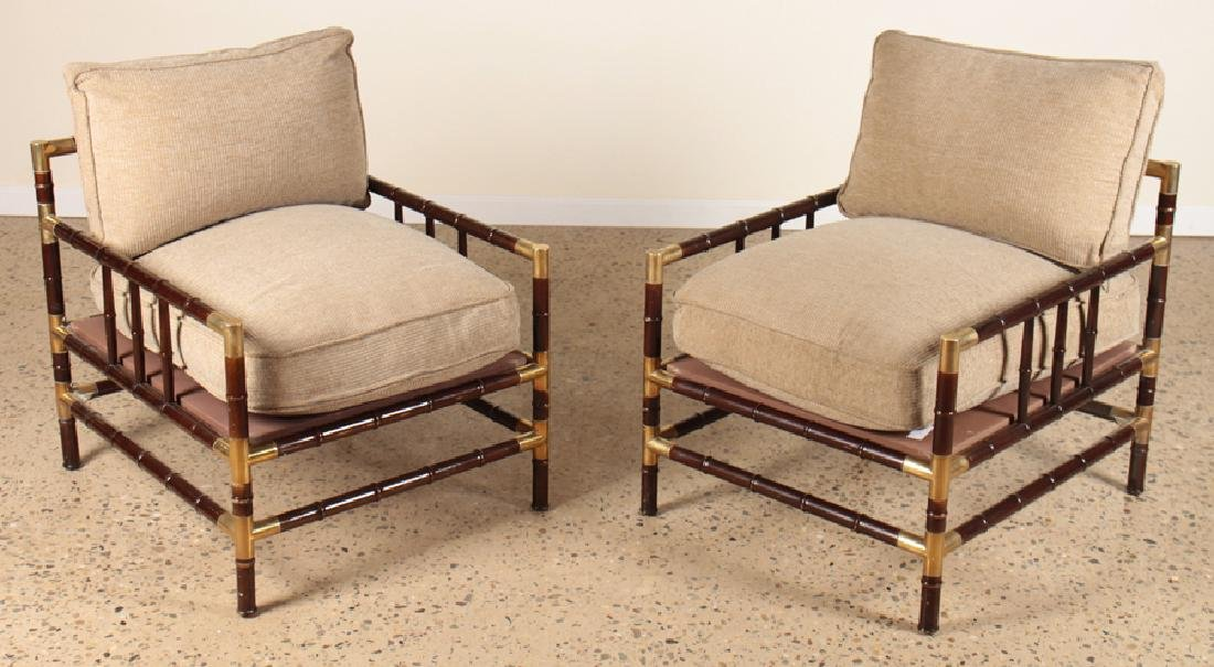 PAIR WILLIAM HAINES STYLE FAUX BAMBOO ARM CHAIRS