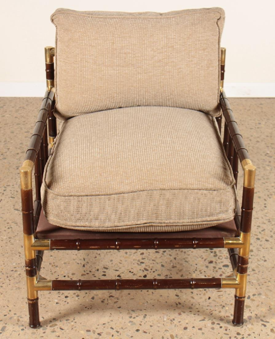 PAIR WILLIAM HAINES STYLE FAUX BAMBOO ARM CHAIRS - 3
