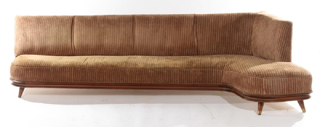 L SHAPED ITALIAN UPHOLSTERED SOFA CIRCA 1960