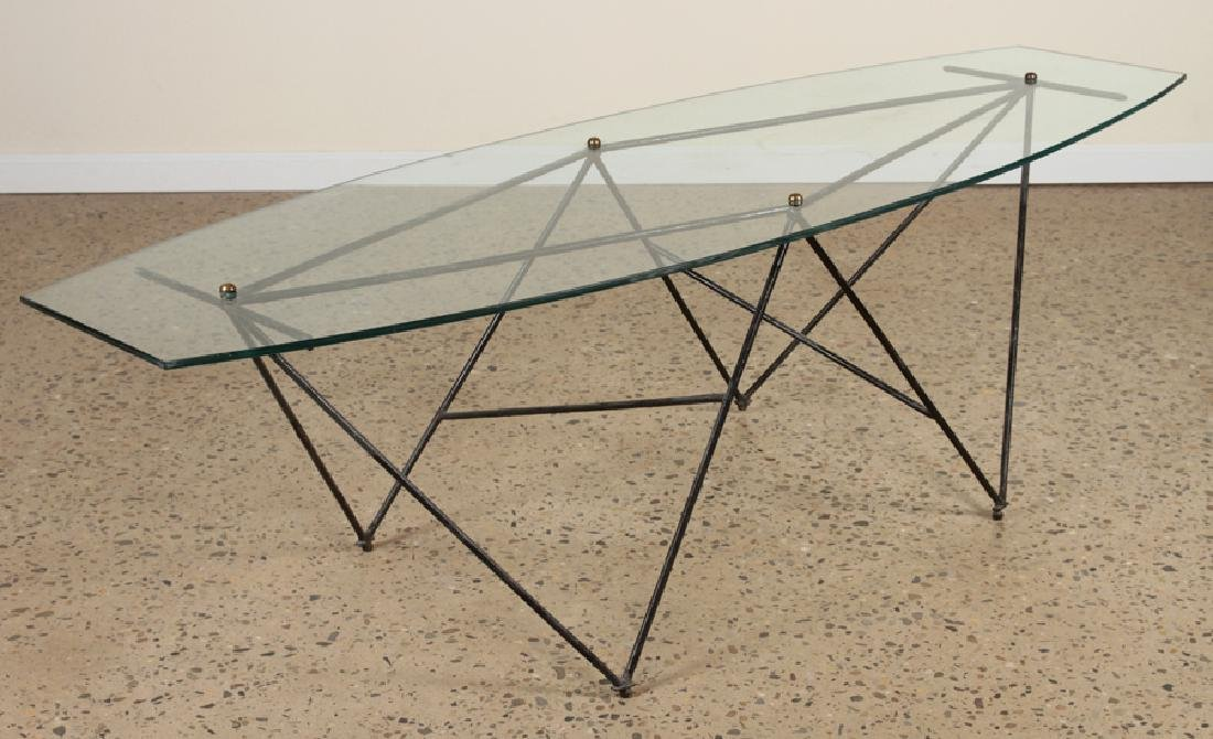 MID CENTURY MODERN IRON AND GLASS COFFEE TABLE