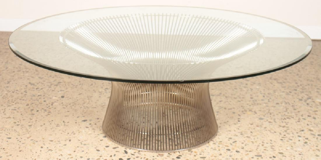 WARREN PLATNER NICKEL PLATED COFFEE TABLE C. 1980
