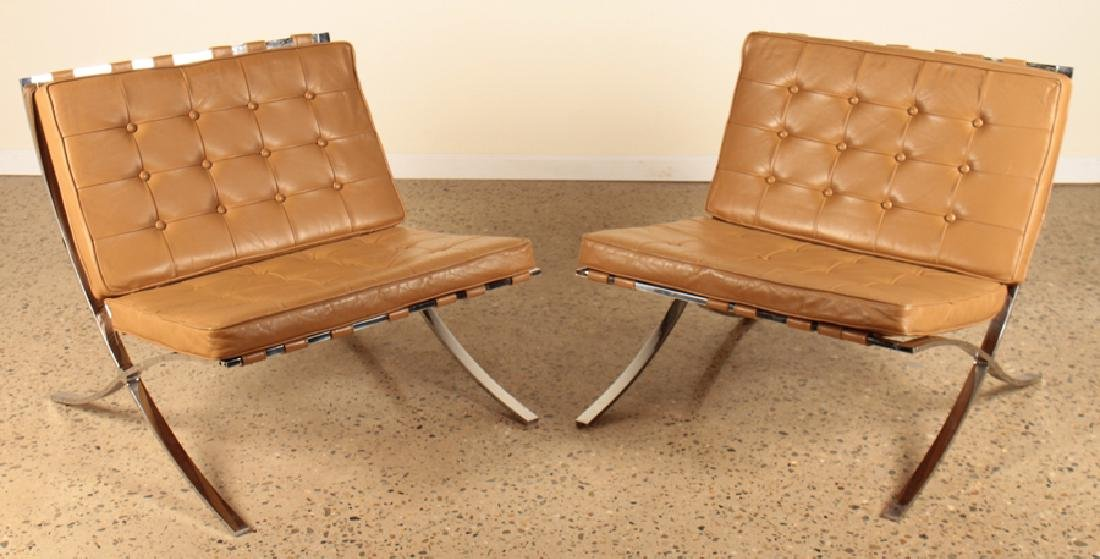 PAIR BARCELONA CHAIRS TUFTED LEATHER C.1975