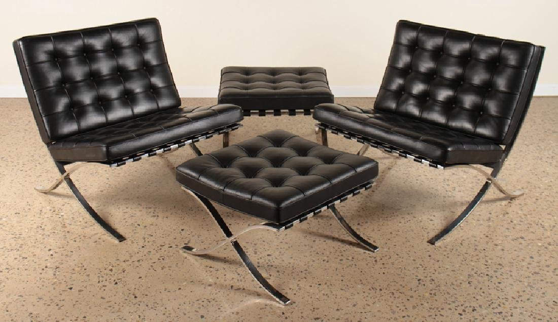 PAIR SIGNED BARCELONA CHAIRS & OTTOMANS BY KNOLL C.1990