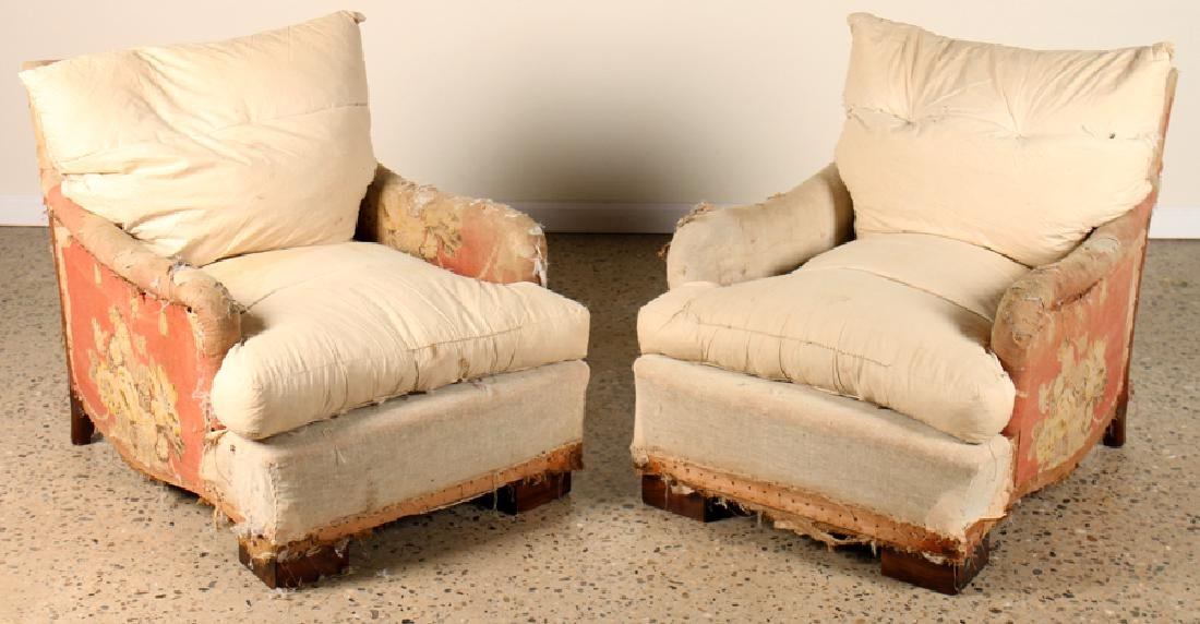 UPHOLSTERED CLUB CHAIRS MANNER OF ANDRE ARBUS