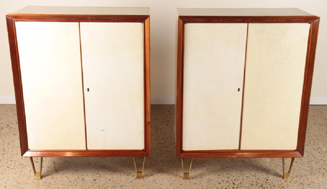 PAIR GIO PONTI STYLE PARCHMENT COVERED CABINETS