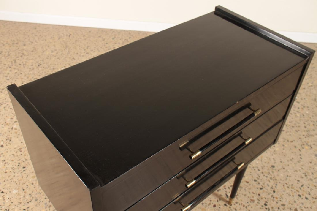 EBONIZED 3 DRAWER COMMODE BRASS ACCENTS C.1960 - 3