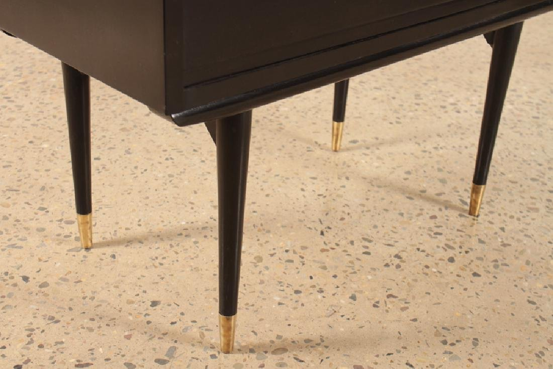 EBONIZED 3 DRAWER COMMODE BRASS ACCENTS C.1960 - 5