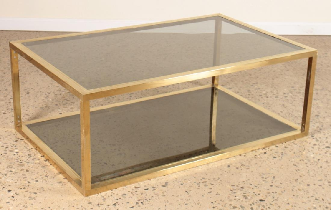 CUBOID FORM COFFEE TABLE SMOKED GLASS CIRCA 1960