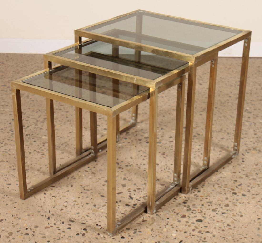 SET 3 BRASS AND GLASS NESTING TABLES CIRCA 1960