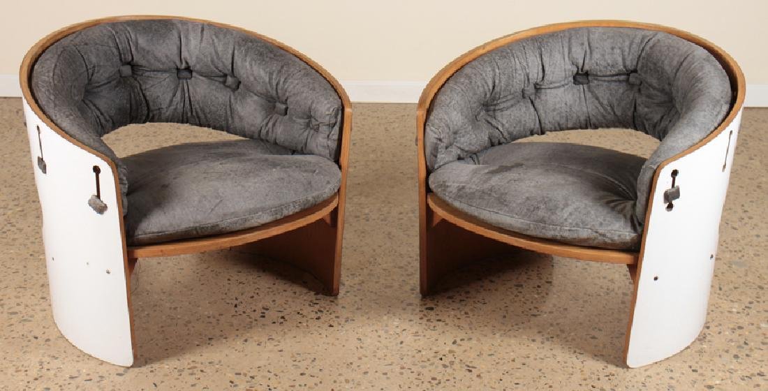 PAIR BARREL BACK FORMICA CLUB CHAIRS CIRCA 1960