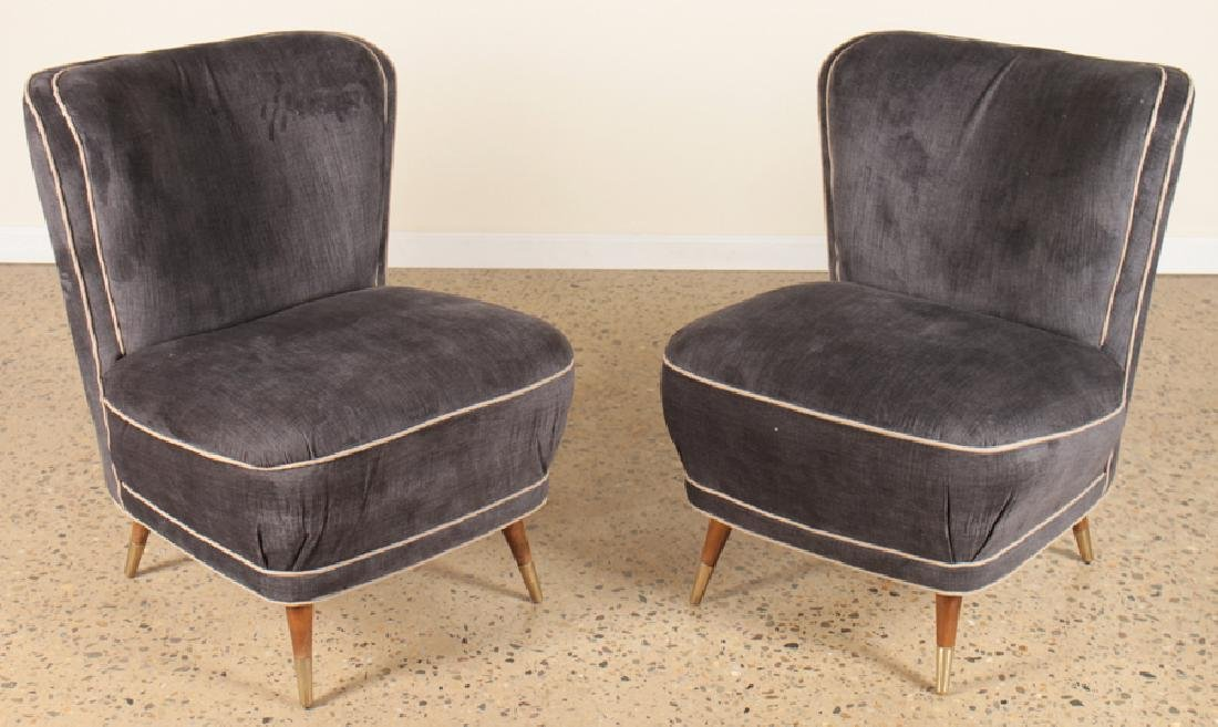 PAIR UPHOLSTERED SLIPPER CHAIRS CIRCA 1960