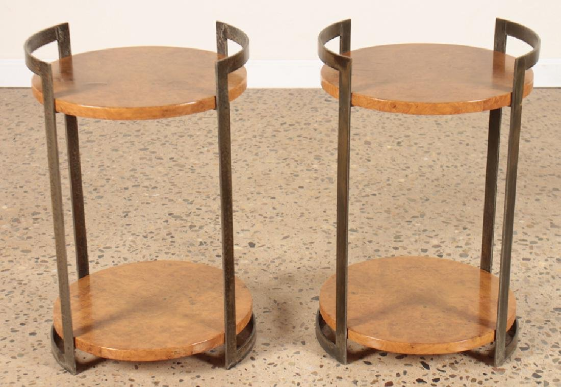 PAIR ROUND MAPLE SIDE TABLES WITH IRON BASE