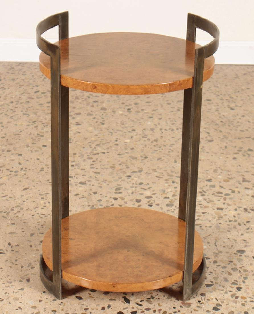 PAIR ROUND MAPLE SIDE TABLES WITH IRON BASE - 2