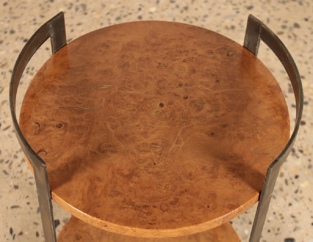 PAIR ROUND MAPLE SIDE TABLES WITH IRON BASE - 3