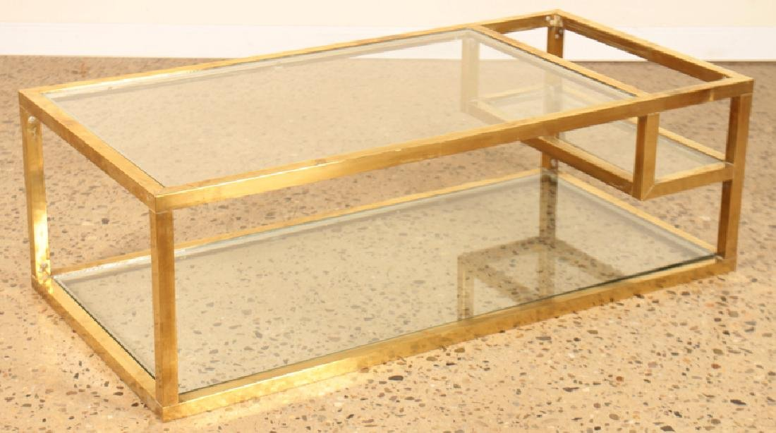 MID CENTURY MODERN BRONZE GLASS COFFEE TABLE 1960
