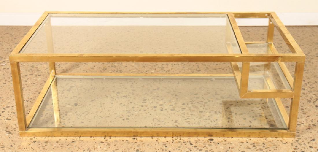 MID CENTURY MODERN BRONZE GLASS COFFEE TABLE 1960 - 2
