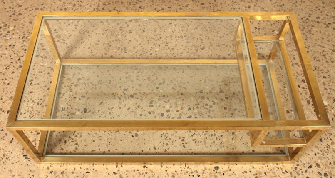 MID CENTURY MODERN BRONZE GLASS COFFEE TABLE 1960 - 3