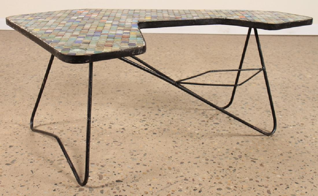 IRON COFFEE TABLE MULTICOLORED GLASS TILE TOP