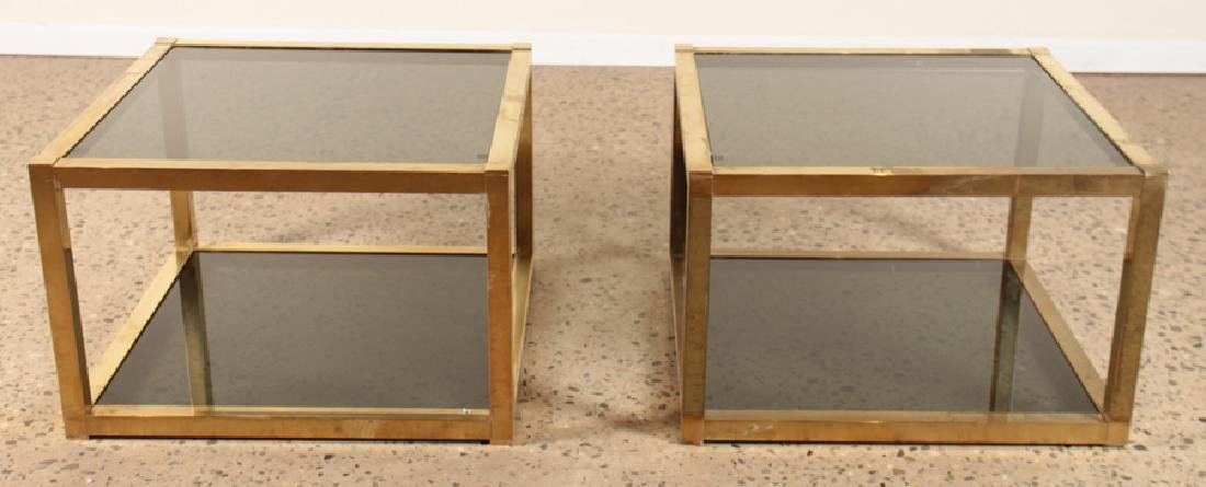 PAIR BRASS CUBE FORM END TABLES SMOKED GLASS 1960