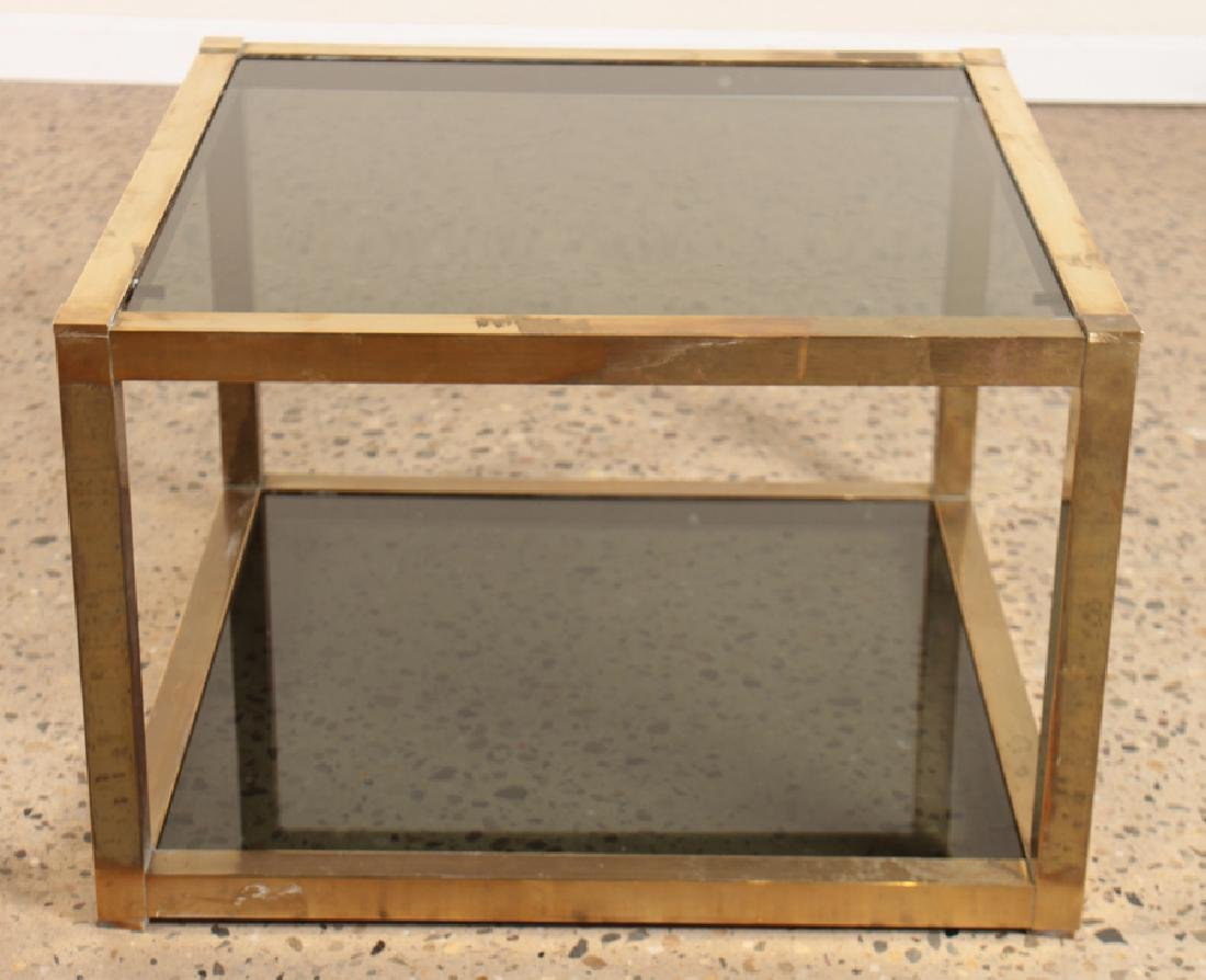 PAIR BRASS CUBE FORM END TABLES SMOKED GLASS 1960 - 2