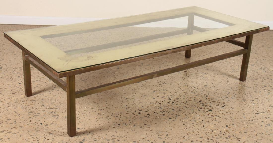 LARGE BRASS COFFEE TABLE WITH GLASS TOP C.1950