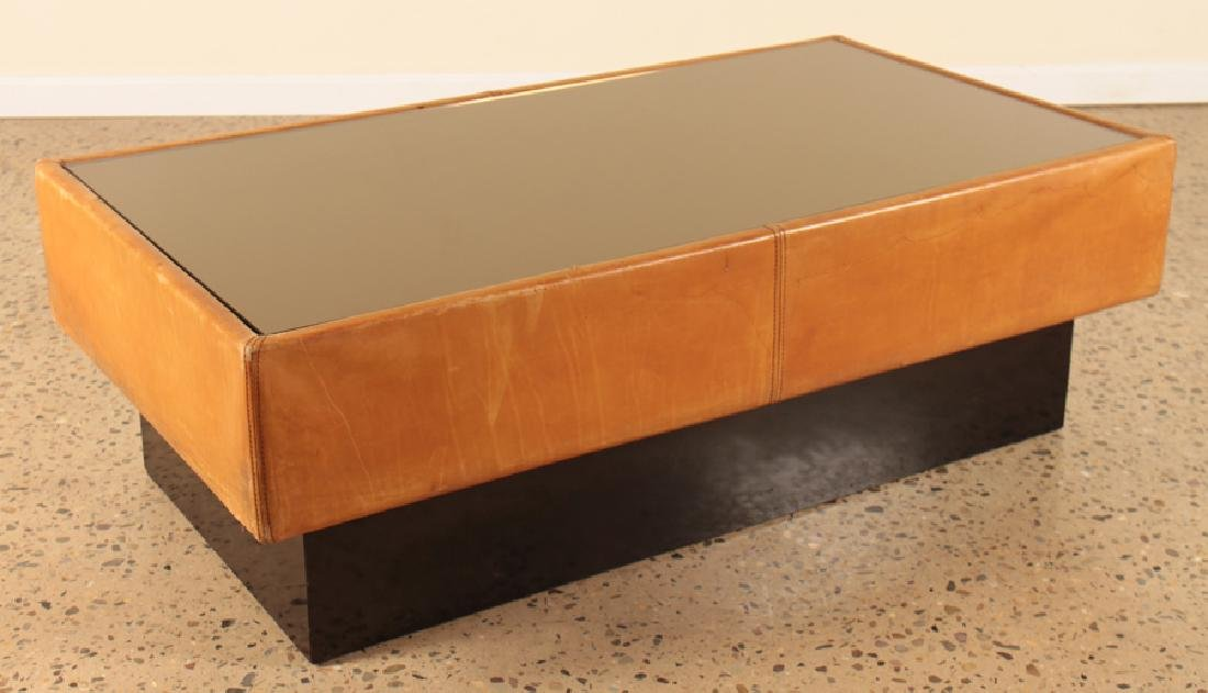 A FRENCH MID CENTURY MODERN LEATHER COFFEE TABLE - 2