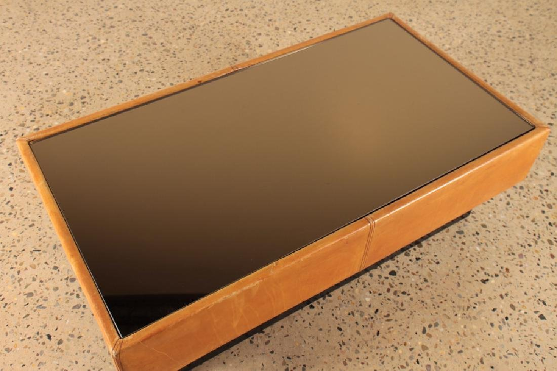 A FRENCH MID CENTURY MODERN LEATHER COFFEE TABLE - 3