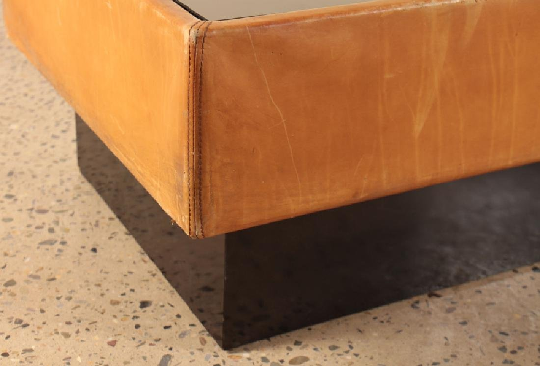 A FRENCH MID CENTURY MODERN LEATHER COFFEE TABLE - 4