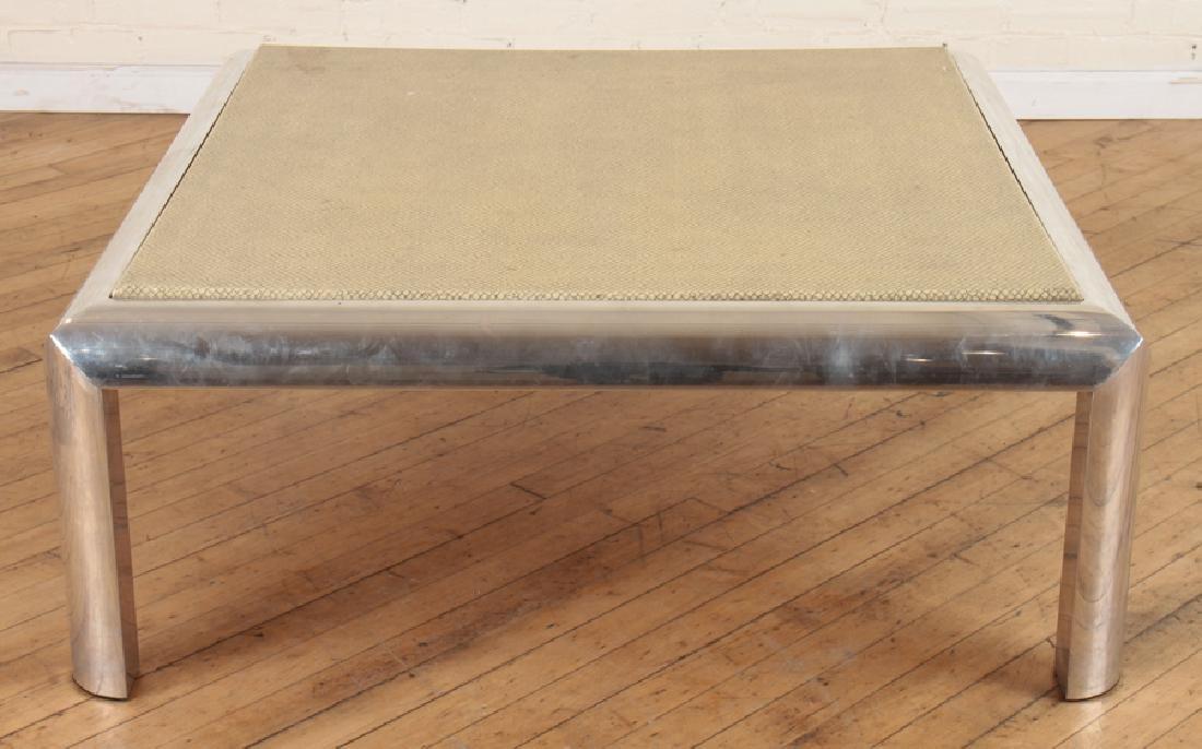 KARL SPRINGER STYLE CHROME COFFEE TABLE C.1960