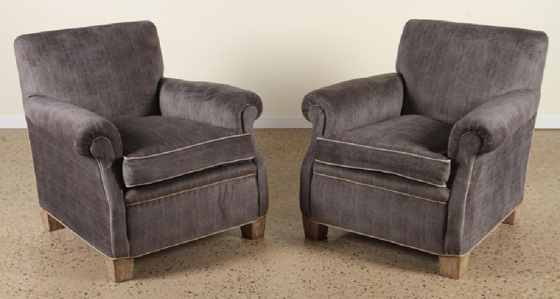 PAIR UPHOLSTERED CLUB CHAIRS CERUSED OAK C.1960