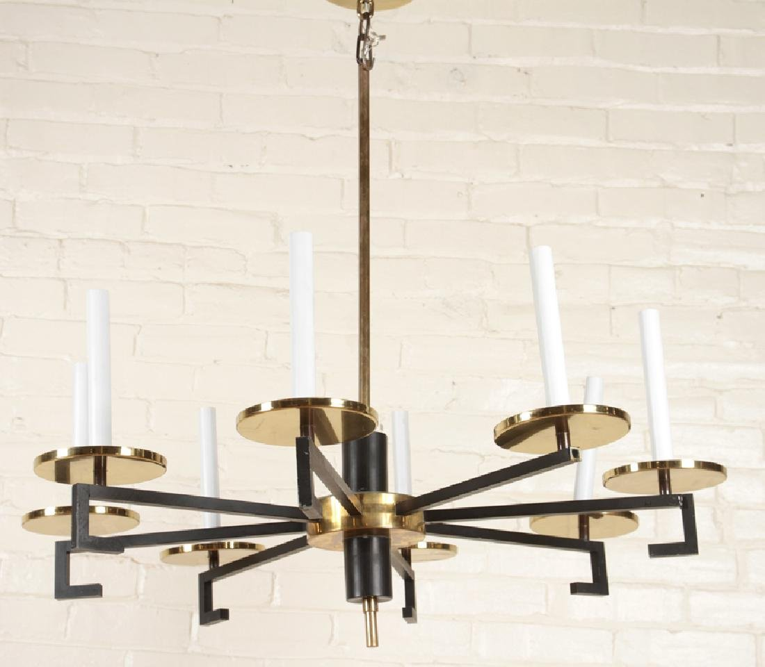 IRON BRASS CHANDELIER MANNER OF TOMMI PARZINGER