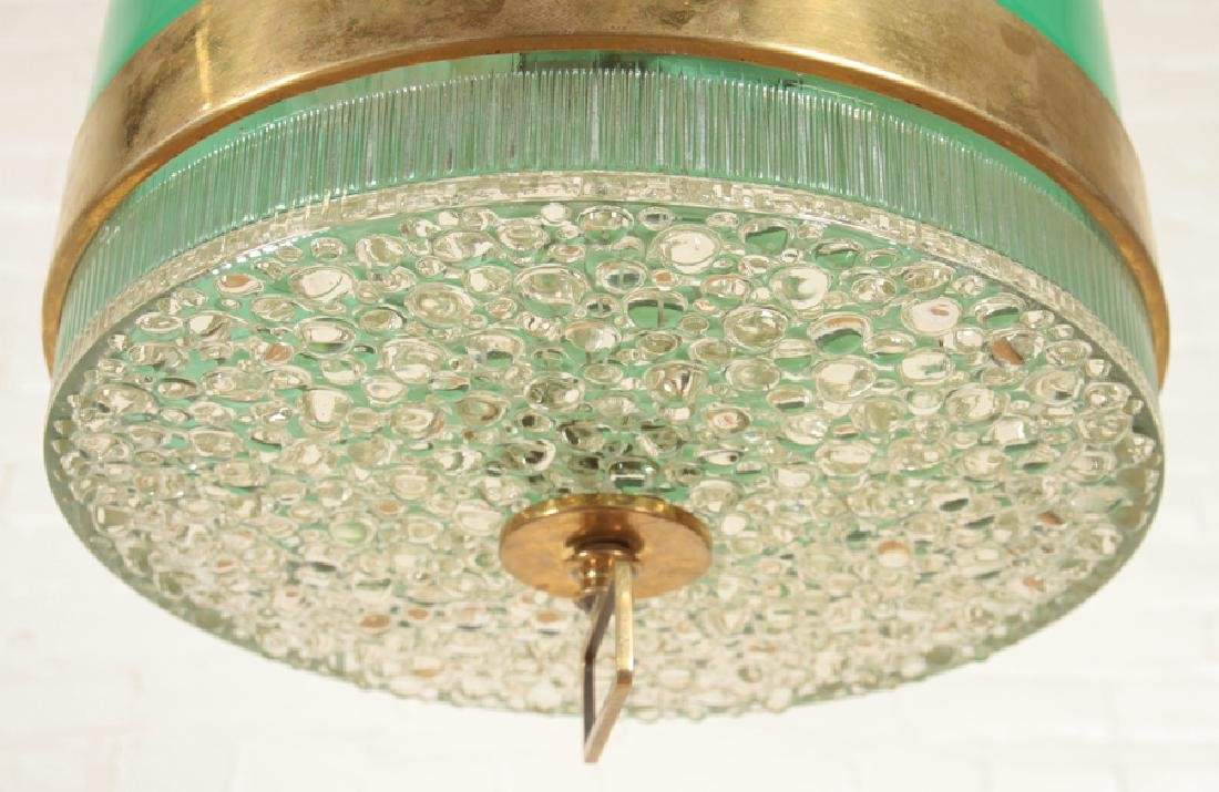 MID CENTURY MODERN TEXTURED GLASS LIGHT FIXTURE - 4