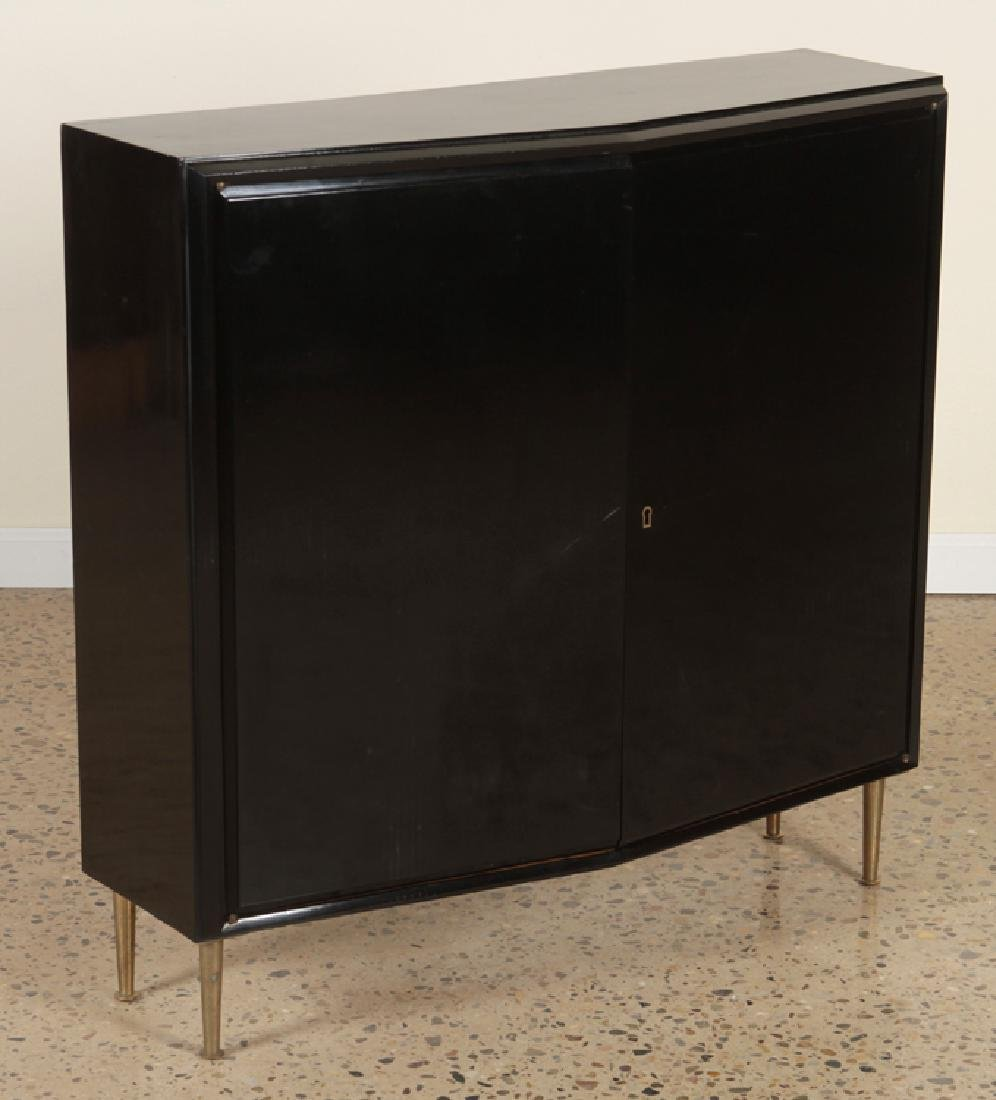 EBONIZED 2 DOOR CABINET BRONZE LEGS CIRCA 1960 - 2