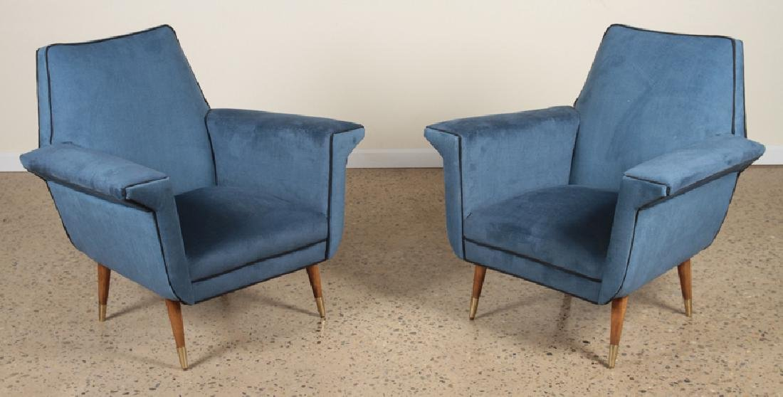 PAIR MID CENTURY MODERN TWO TONED CLUB CHAIRS
