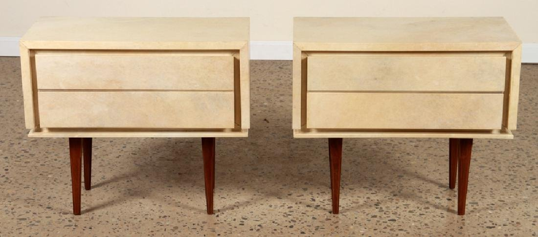PAIR JEAN-MICHEL FRANK STYLE PARCHMENT END TABLES