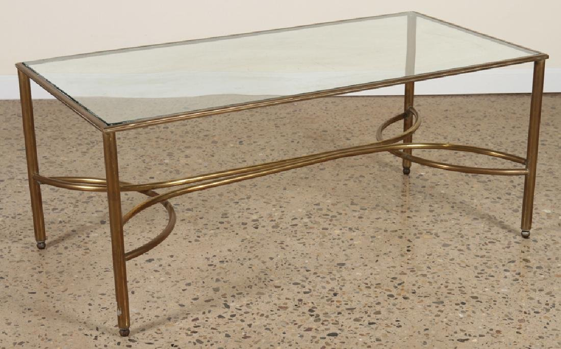 BRONZE COFFEE TABLE GLASS TOP BUTTERFLY C.1965