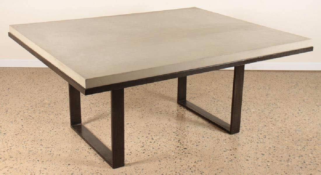 SIMULATED CONCRETE WOOD DINING TABLE ON IRON BASE