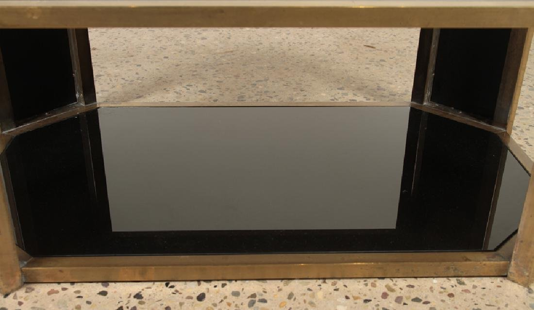 OCTAGONAL BRASS COFFEE TABLE BLACK GLASS C.1960 - 5
