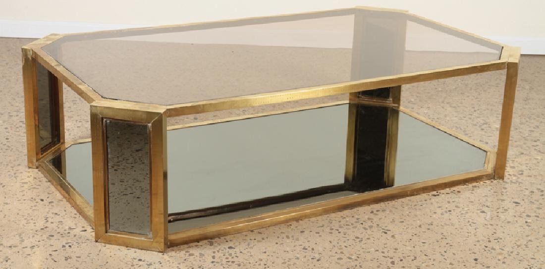 MID CENTURY MODERN BRASS COFFEE TABLE C.1960