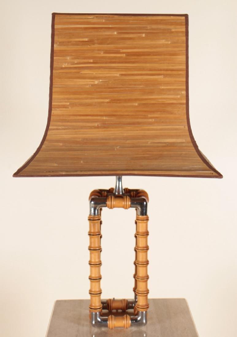 MID CENTURY MODERN FAUX BAMBOO CHROME LAMP C1970