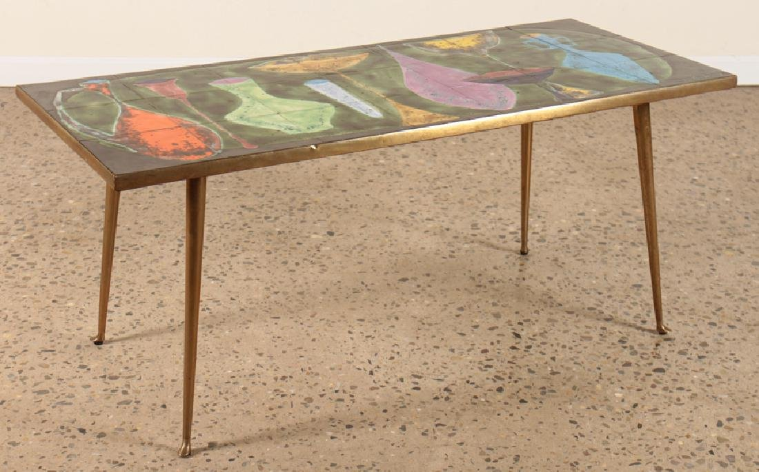 TILE TOP COFFEE TABLE SIGNED C. DE SAVIGNY C.1950