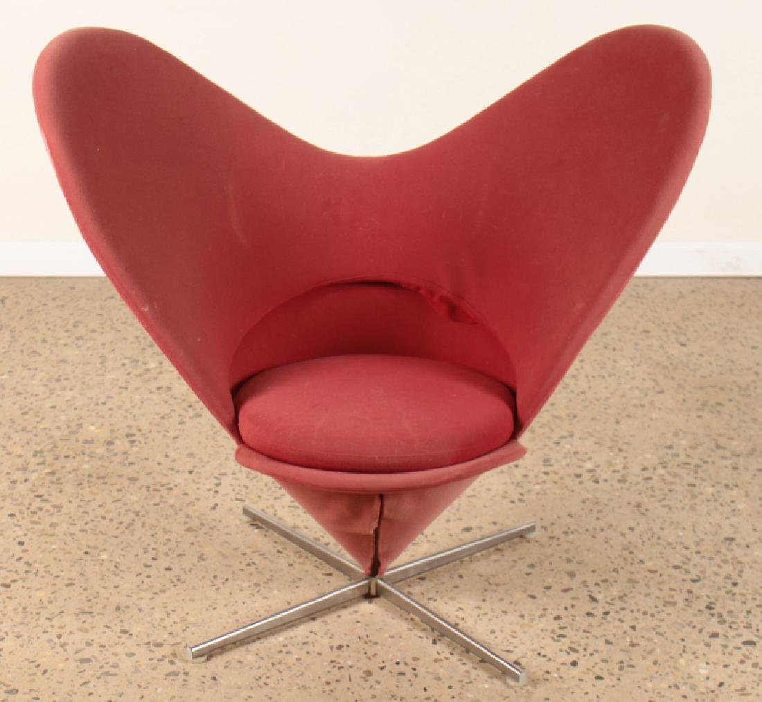 VERNER PANTON HEART CONE CHAIR STEEL BASE C.1960