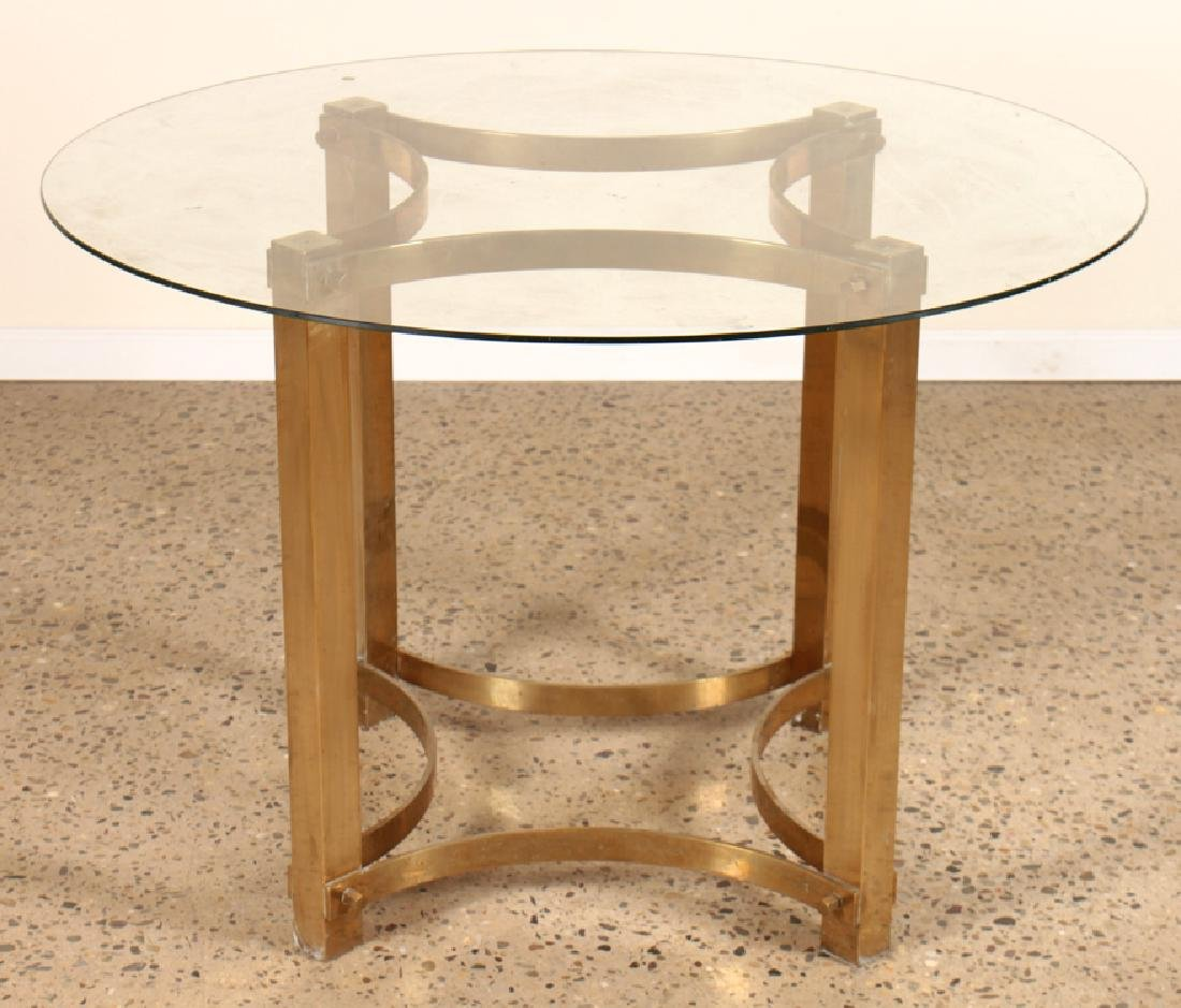 MID CENTURY BRASS SPRINGER STYLE DINING TABLE