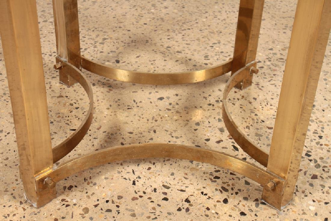 MID CENTURY BRASS SPRINGER STYLE DINING TABLE - 4